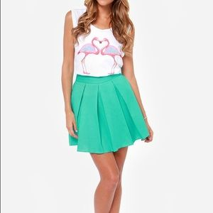 Lulus Automatic Awesome Pleated Turquoise Skirt